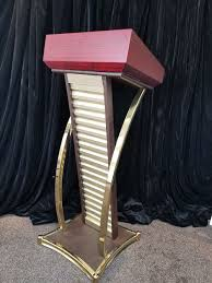 Wooden Podium with Gold Frame